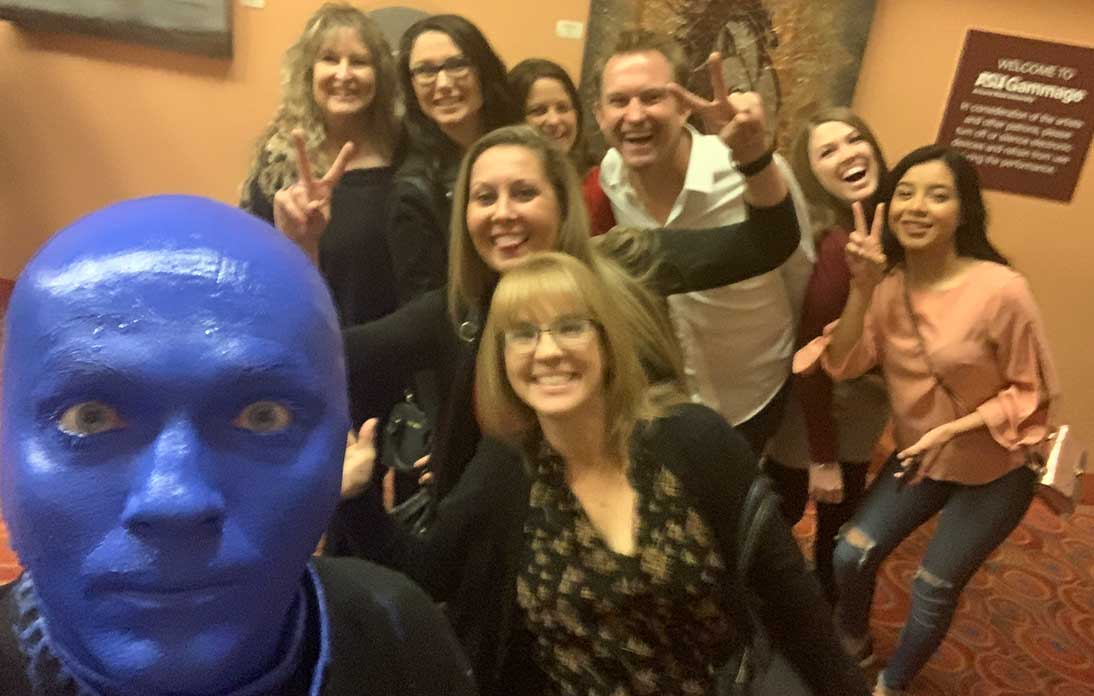 Doctor and crew at Blue Man Group